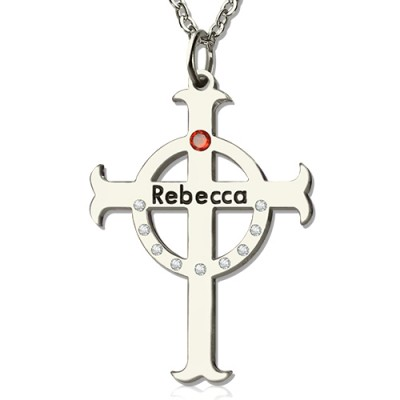 Solid White Gold Circle Cross Name Necklace s with Birthstone Name