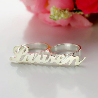 Allegro Two Finger Name Solid White Gold Ring