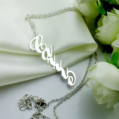 Solid Gold Vertical Carrie Style Name Necklace