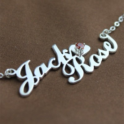 Solid Gold Nameplate Necklace Double Name