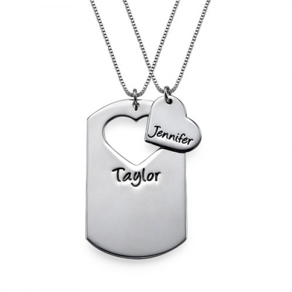 Solid White Gold Couples Dog Tag Necklace With Cut Out Heart
