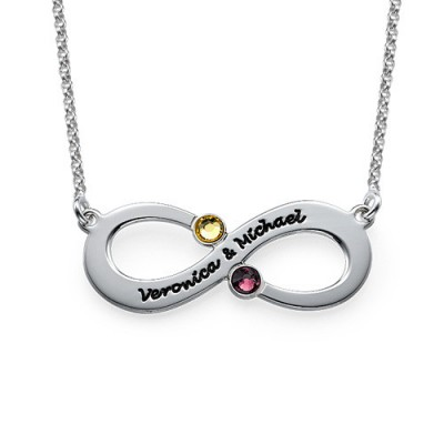 Solid White Gold Couple's Infinity Necklace with Birthstones