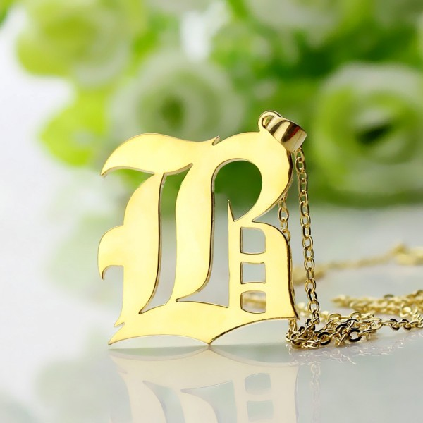 Custom Mens Initial Letter Charm Old English - 18CT Gold