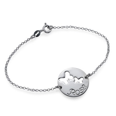 Solid White Gold Cut Out Butterfly Bracelet/Anklet