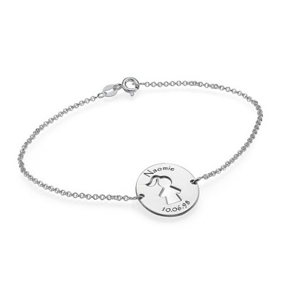Solid White Gold Cut Out Mum Bracelet/Anklet