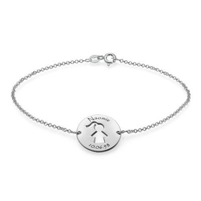 Solid White Gold Cut Out Mum Bracelet/Anklet