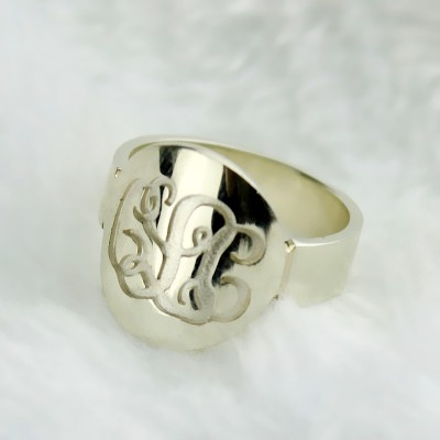 Make Your Own Monogram Itnitial Solid White Gold Ring