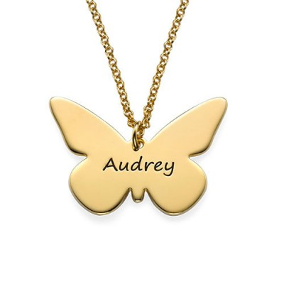 Engraved - 18CT Gold Pendant - Butterfly