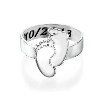 Engraved Baby Feet Solid White Gold Ring