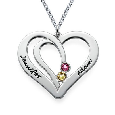 White Gold Engraved Couples Birthstone Necklace