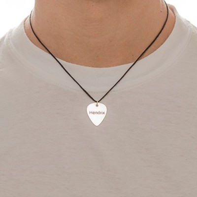 Solid Gold Engraved Guitar Pick Necklace