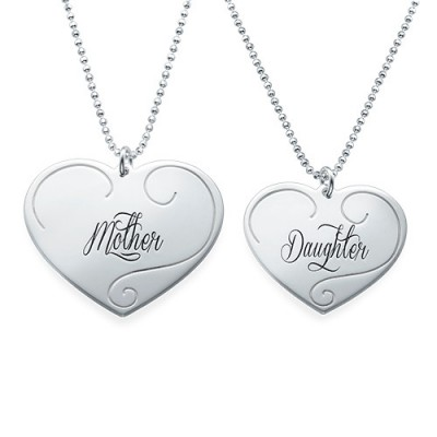 Solid Gold Engraved Heart Pendants - Mother Daughter Jewellery