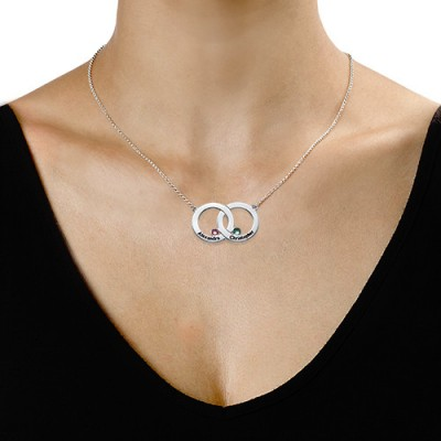 Solid Gold Engraved Interlocking Circle Necklace