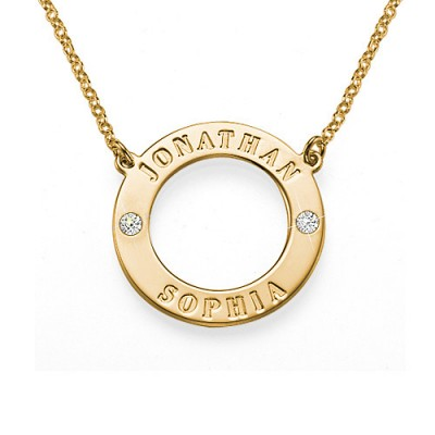 Solid Gold Engraved Karma Necklace with Two Crystals