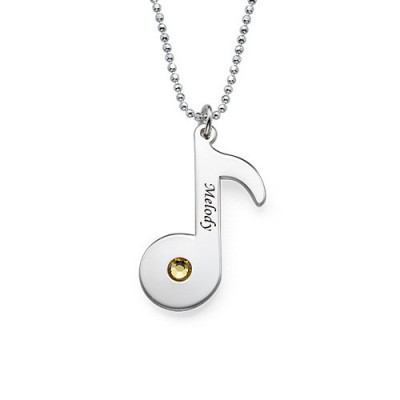 Solid Gold Engraved Music Note Necklace with Birthstone