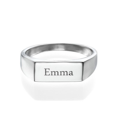 Engraved Signet Solid White Gold Ring