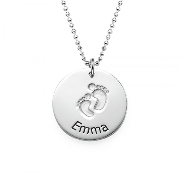 Solid Gold EngravedBaby Steps Name Necklace