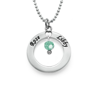 Solid Gold Engraved Classic Circle Necklace with Birthstones