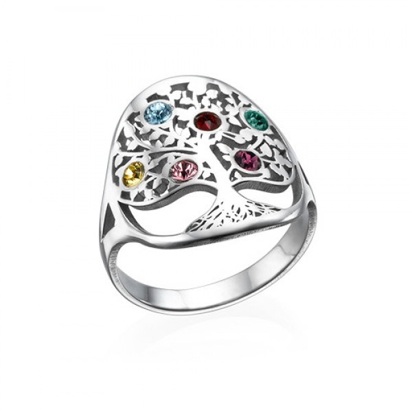 Family Tree Jewellery - Birthstone Solid White Gold Ring