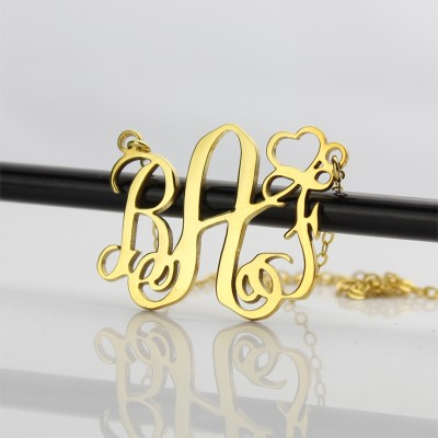 Personalised Initial Monogram Necklace With Heart - 18CT Gold