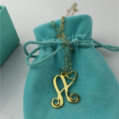 Single Letter Monogram With Heart Necklace - 18CT Gold