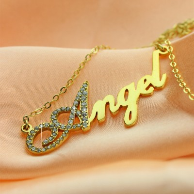 18CT Gold Script Name Necklace-Initial Full Birthstone