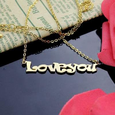 Gold I Love You Name Necklace