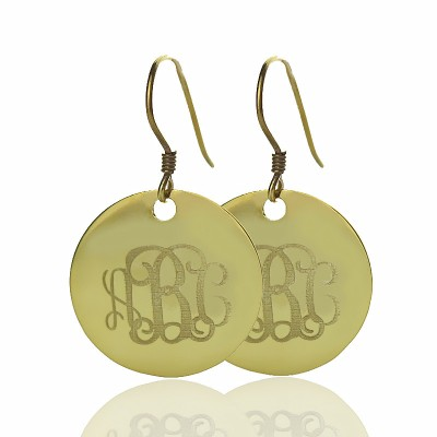 Disc Signet Monogram Earrings - Solid Gold