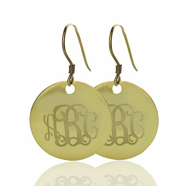 Disc Signet Monogram Earrings - Solid Gold