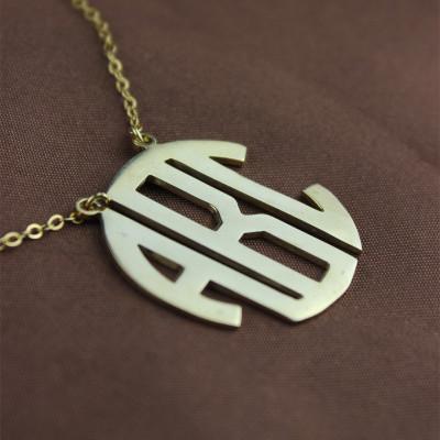 18CT Gold Block Monogram Pendant Necklace
