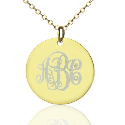 Disc Script Monogram Necklace - 18CT Gold