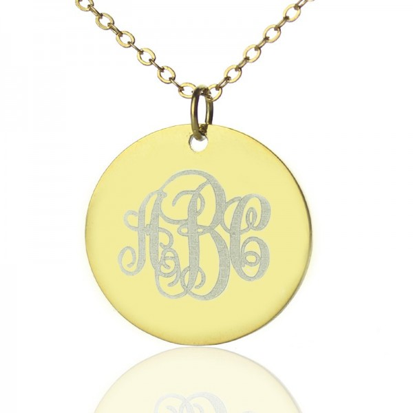 Disc Script Monogram Necklace - 18CT Gold