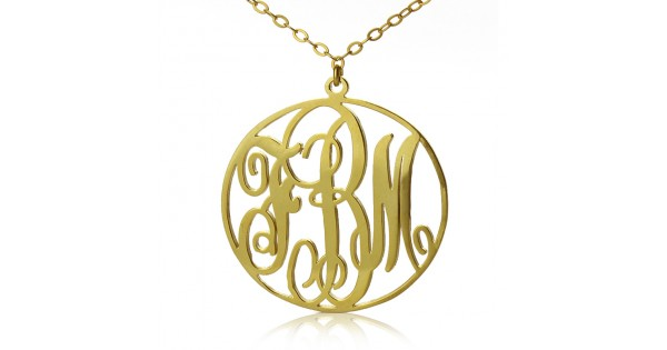 18ct gold circle initial monogram necklace gold monogram pendant 600x315g mozeypictures Image collections