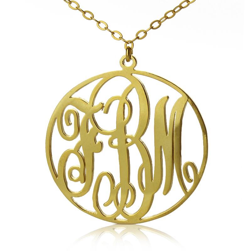 Gold monogram pendant 800x800g 18ct gold circle initial monogram necklace aloadofball Image collections