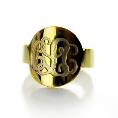 Engraved - 18CT Gold Script Monogram Itnitial Ring