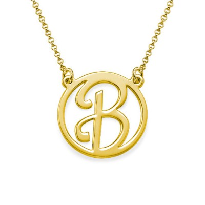18k Gold Cut Out Initial Necklace