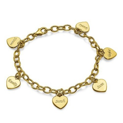 18k Gold Heart Charm Mothers Bracelet/Anklet