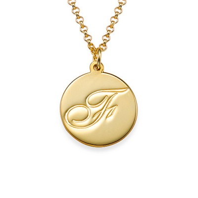 18CT Gold Initial Pendant with Script Font