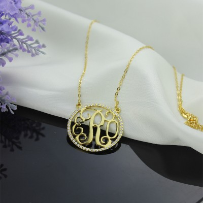 18CT Gold Circle Birthstone Monogram Necklace