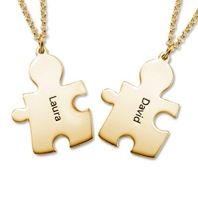 18CT Gold Personalised Couple's Puzzle Necklace