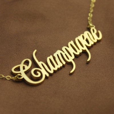 18CT Yellow Gold Personalised Champagne Font Name Necklace