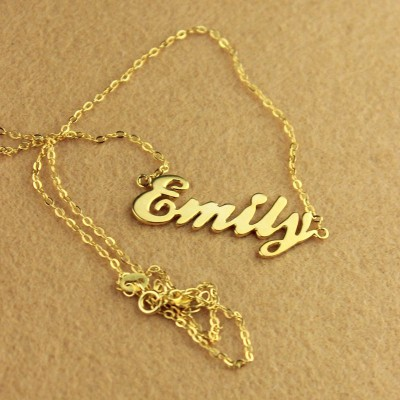 Cursive Nameplate Necklace - 18CT Gold