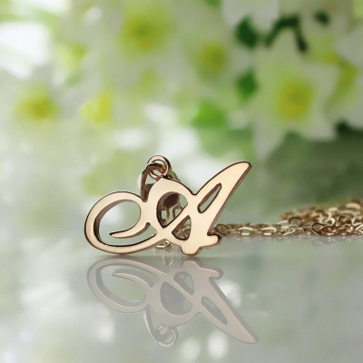 Custom Letter Necklace 18CT Rose Gold Plated