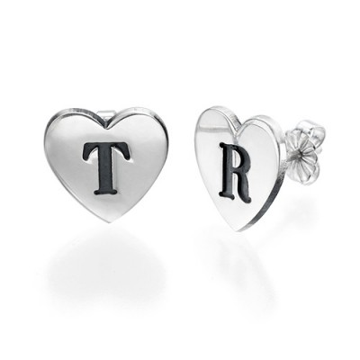Solid Gold Heart Initial Earrings