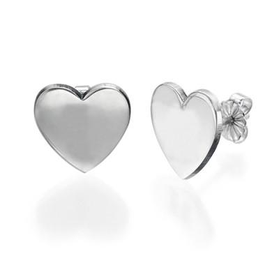Solid Gold Heart Initial Earrings