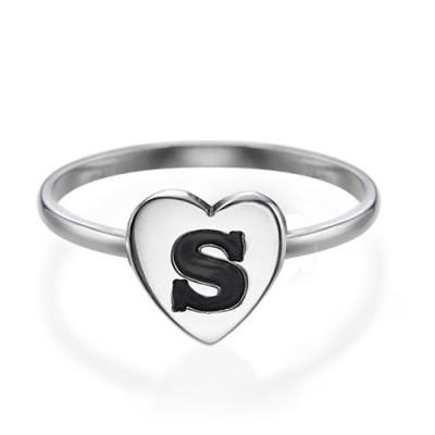Heart Initial Solid White Gold Ring