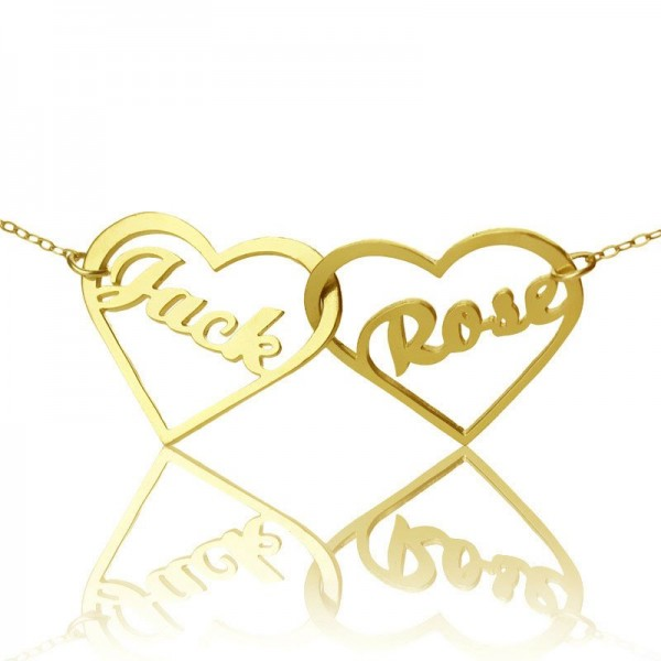 Double Heart Name Necklace - 18CT Gold