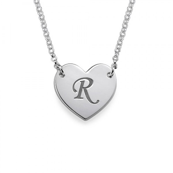 Solid Gold Heart Necklace with Initial Print Font