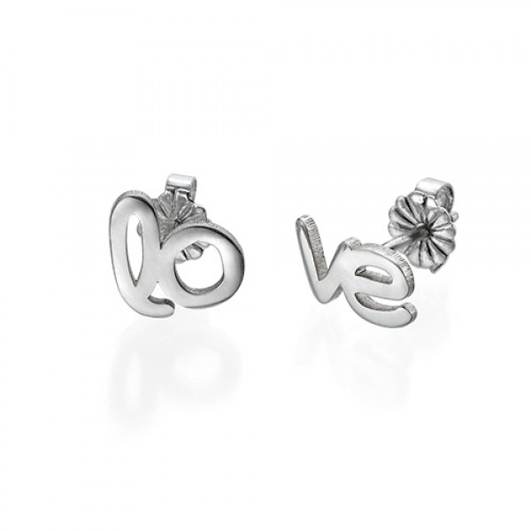 Solid Gold Hope and Love Stud Earrings