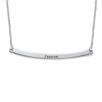 Solid Gold Horizontal Bar Name Necklace